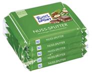 Ritter Sport Tafelschokolade Nuss Splitter Vollmilchschokolade mit Haselnuss-Stückchen (12 %), Kakao (30 %), 5 Stück à 100 g 500 g Packung