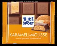 Ritter Sport Tafelschokolade Karamell Mousse aufgeschlagene Butter Karamell Creme (34 %) & leicht gesalzene Mandelstückchen (5,5 %), 5 Stück à 100 g 500 g Packung