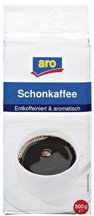 aro Schonkaffee entkoffeiniert & aromatisch, gemahlen, vak.-verpackt - 500 g Packung