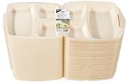 Papstar Menübox mit Klappdeckel 3-geteilt, aus EPS, Beige - 50 Stück