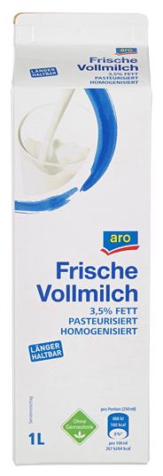 aro frische Vollmilch 3,5 % Fett 1 l Packung