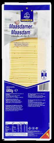 Horeca Select Maasdamer geschnitten 10 x 10 cm Scheiben, 45 % Fett, wiederverschließbar 1 kg Packung