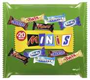 Mixed Minis Schoko Riegel Minis Mixed-Tasche (Mars, Snickers, Bounty, Milky Way, Twix), 12 Stück à 400 g 120 x 400 g Beutel