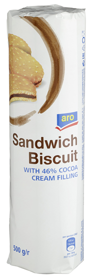 Aro Doppelkeksrolle 46 % Kakaocreme 500 g Packung