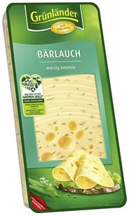 Grünländer Bärlauch würzig-intensiv, Schnittkäse, 48 % Fett i. Tr. 500 g Packung