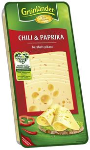 Grünländer Chili & Paprika herzhaft pikant, Schnittkäse, 48 % Fett i. Tr. 500 g Packung