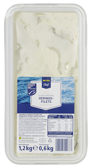 METRO Chef MSC Heringsfilets in Sahnesauce 1,2 kg Packung