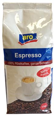 aro Espresso ganze Bohnen 1 kg Beutel