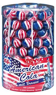 Kuefa Lollies American Cola Lutscher mit Brausepulver, 100 Stück á 17 g 100 Stück Dose