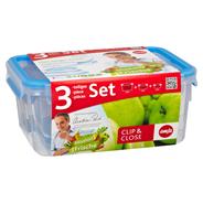 Emsa Clip & Close Frischhaltedosen Set eckig 3 Stück