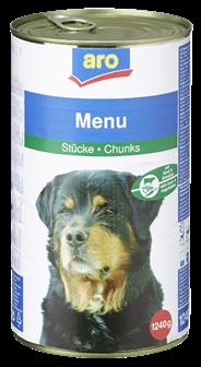 Aro Menü für Hunde Fleisch & Gemüse 1,25 kg Dose