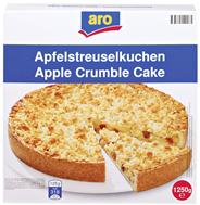 Aro Apfelstreuselkuchen tiefgefroren, individuell portionierbar, Ø 26 cm 1,25 kg Packung