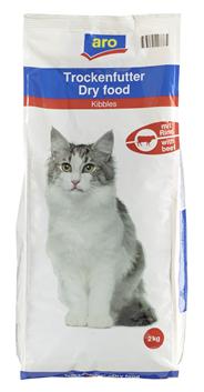 aro Katzentrockenfutter mit Rind 2 kg Beutel