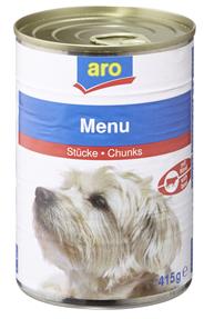 Aro Hundefutter Menu mit Rinderstücken 415 g Dose