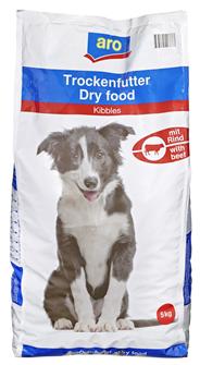 Aro Trockennahrung für den Hund mit Rind 5 kg Beutel