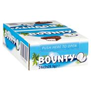 Bounty Schokoriegel Milchschokolade (36 %), gefüllt mit saftigem, weißem Kokosmark 24 x 57 g Packungen