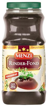 Menzi Rinder Fond Konzentrat zum verfeinern von Saucen und Suppen, 1:25 1 l Konzentrat ergibt 25 l 1 l Flasche