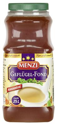 Menzi Geflügel Fond Konzentrat zum Verfeinern für Saucen und Suppen, 1:25 1 l Konzentrat ergibt 25 l 1 l Flasche