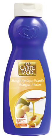 Langnese Carte d'Or Dessert Topping Mango-Aprikose mit 15 % Mangopüree, 15 % Aprikosenpüree 6 x 1 kg Flaschen
