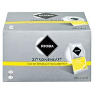 Rioba Zitronensaft 100 Stück á 4 ml, aus Zitronensaftkonzentrat 6 x 400 ml Karton