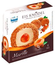 HMF Food Production Süße Knödel mit Marillenfruchtfüllung aus feinem Milcheis mit Aprikosenfüllung 1 kg Faltschachtel
