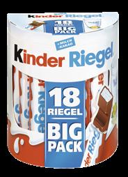 Kinder Schokoladenriegel gefüllte Vollmilchschokolade mit Milchfüllung (59,5 %), 18 Stück à 21 g 150 x 378 g Packungen