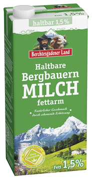 Berchtesgadener Land Haltbare Bergbauern Milch 1,5 % Fett - 12 x 1 l Packungen