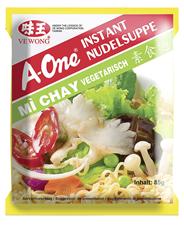 A-One Instantnudeln vegetarisch Nudelnest und Suppen-Gewürzpulvermischung in der jeweiligen Geschmacksrichtung, ergibt ca. 500ml Nudelsuppe 30 x 85 g Beutel