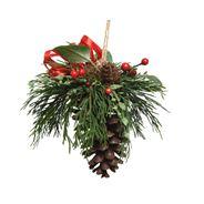 Kersthanger deco dennenappel rode bes