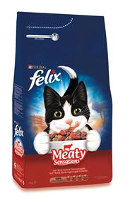 Purina Felix Sensations droge brokjes vlees 4 kg