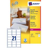 Avery 2100 Adresetiketten Recycled 63,5x38,1mm