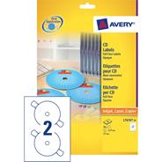 Avery 50 CD/DVD 117mm Laser Etiketten 25 vel