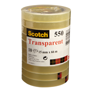 Scotch Transparant Plakband 550 15mmx66m Tape 10 stuks
