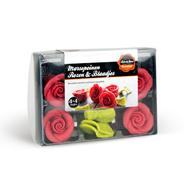 Bake&Deco Marsepeinen rozen met blaadjes 4 stuks
