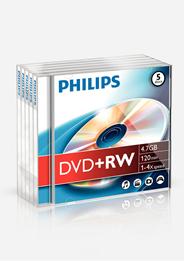 Philips DVD+RW 4,7 GB 5 stuks