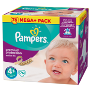 Pampers Active fit Luiers maat 4+ maxi+ 9-18 kg