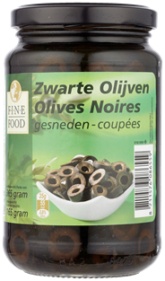 Fine Food Zwarte olijven gesneden 370 ml