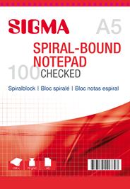 Sigma Spiraalblok geruit A5 5 x 100 vel