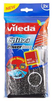 Vileda Glitzi power inox panspons 2 stuks