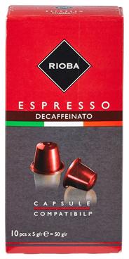 Rioba Capsules Espresso decaffeinato 10 x 5 gram