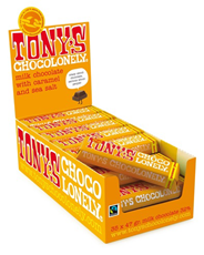 Tony's Chocolonely melk, karamel en zeezout 35 x 47 gram