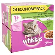 Whiskas Vis & vlees selectie in gelei 1+ jaar 24 x 100 gram