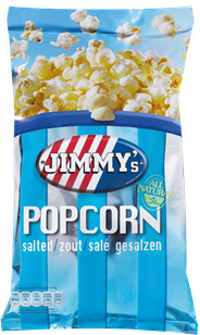 Jimmy's Popcorn Family bag zout 100 gram