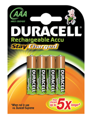 Duracell StayCharged AAA (4pcs) Nickel-Metal Hydride (NiMH) 800mAh rechargeable battery