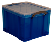 Really Useful Opbergdoos 35 liter transparant blauw