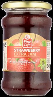 Fine Life Extra jam aardbeien 340 gram