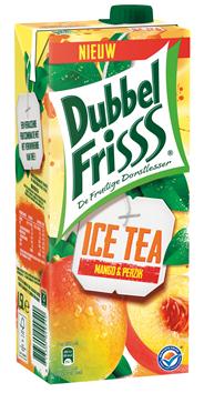 DubbelFrisss Ice tea Mango & perzik 8 x 1,5 liter