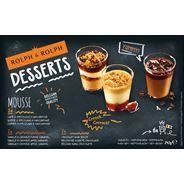 Desserts 2x Koffie-Speculaas-Mascarpone, 2x Vanille-Appel-Crumble, 2x Belgische zwarte chocolade