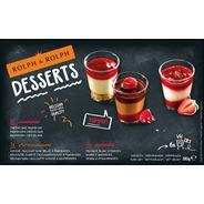 Dessertsglaasjes 2xZwartechocolademousse, Framboos 2x Kwark, Aardbeien, 2x Framboos, Cheesecake