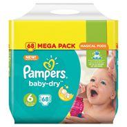 Pampers Baby-Dry Maat 6, 68 Luiers, Voor Droge Ademende Huid